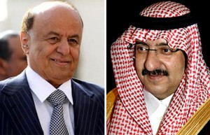 Abd Rabbu Mansour Hadi e il principe saudita Mohammed bin Naif bin Abdulaziz
