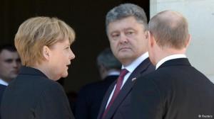 Merkel, Putin e Poroshenko il 6 giugno 2014