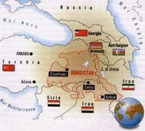 Mappa del Kurdistan