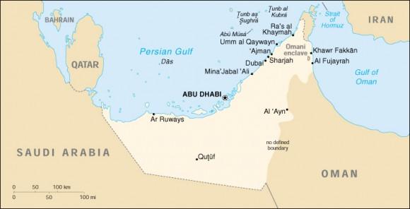 Mappa degli Emirati Arabi
