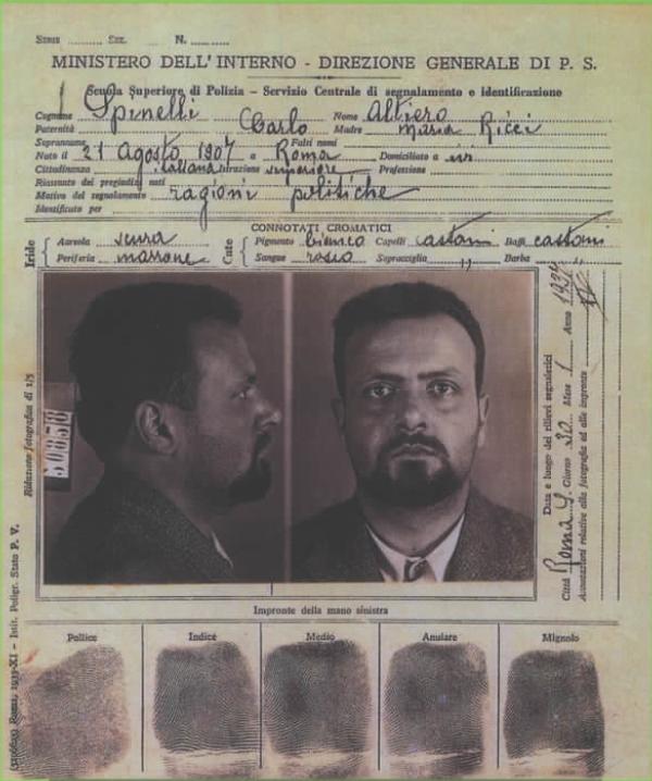 La scheda di confino di Altiero Spinelli a Ventotene