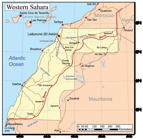 Mappa del Sahara occidentale