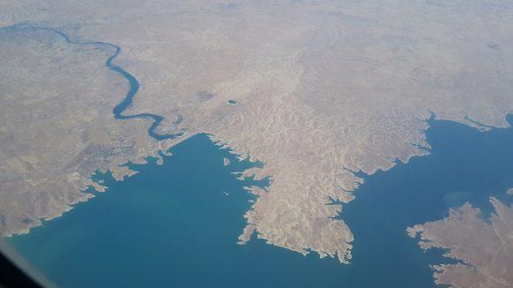 Visione aerea della diga di Mosul
