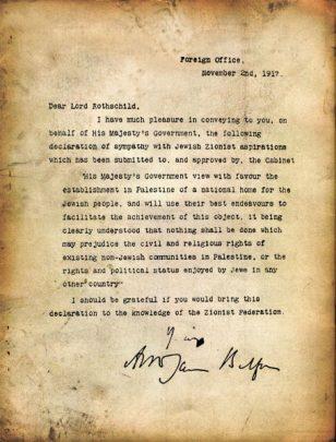 La 'Dichiarazione Balfour' del 1917.