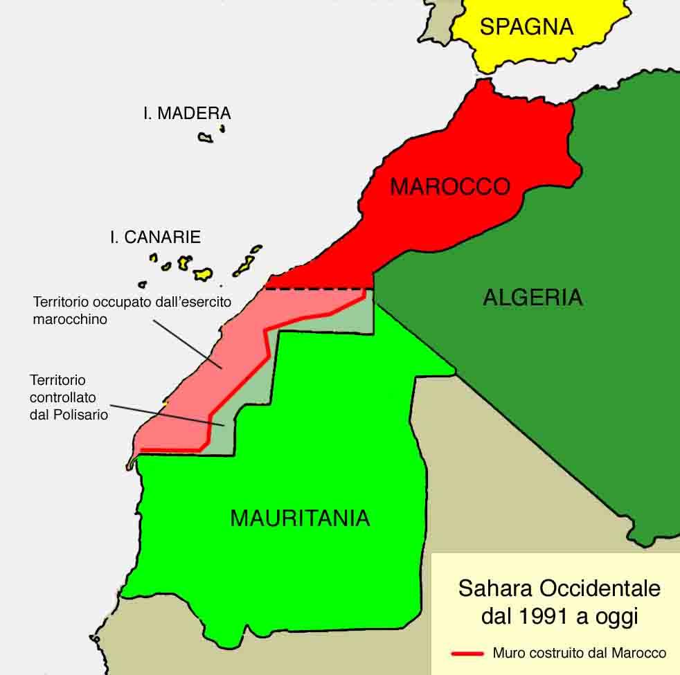 IL Sahara ex spagnolo oggi (ex Rio de Oro).