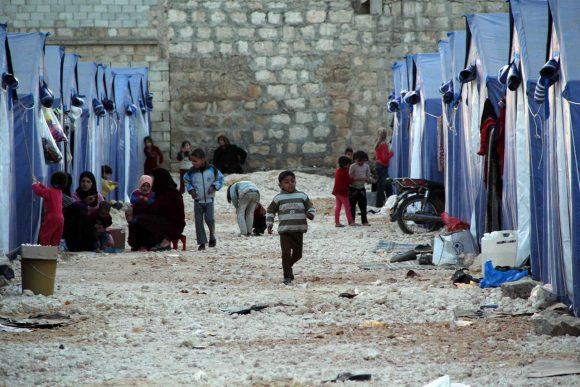 Un accampamento di profughi siriani in Libano