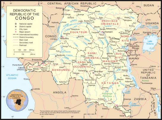 Mappa del Congo con la regione del Kasai