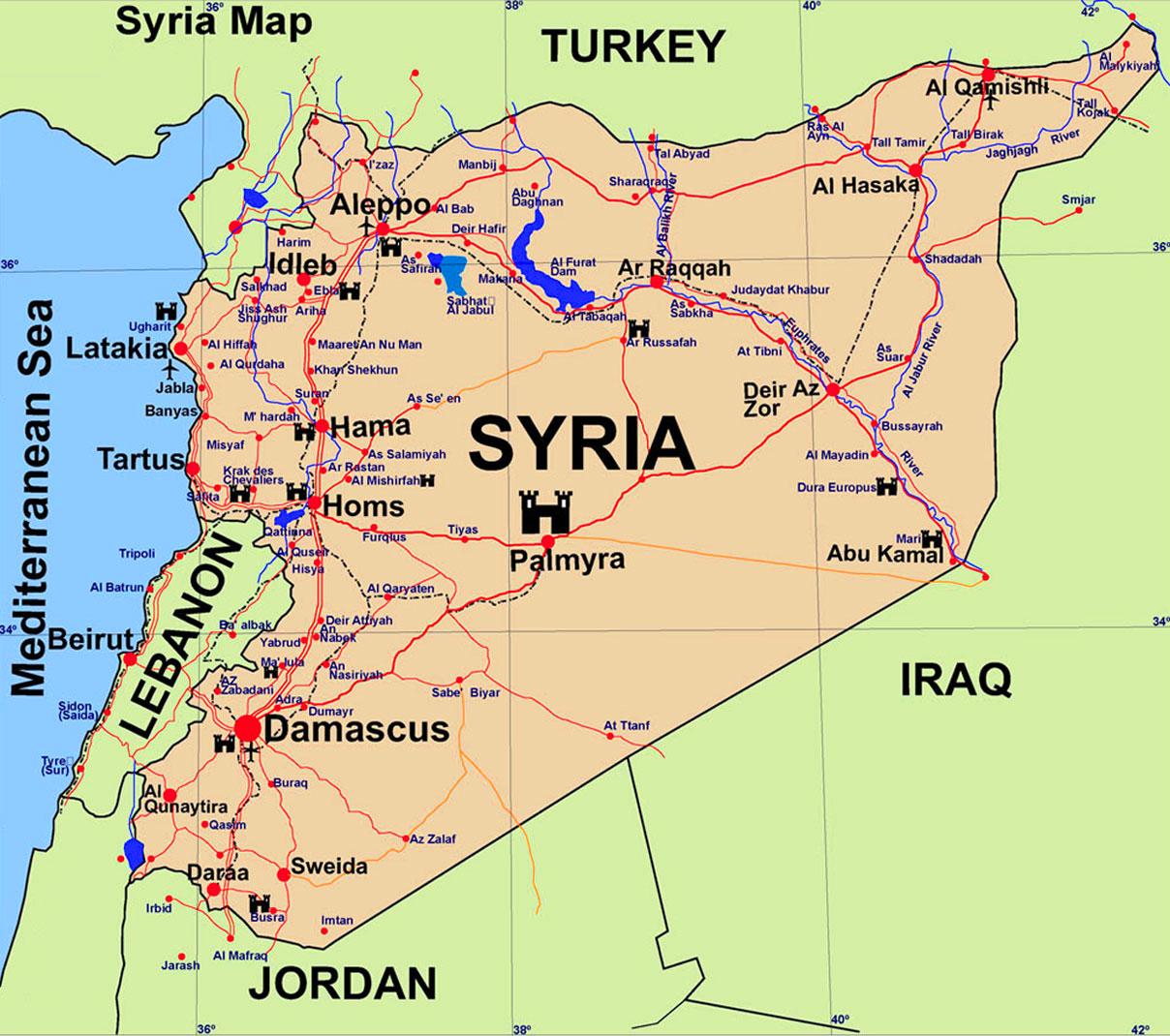 Cartina Del Medio oriente attuale