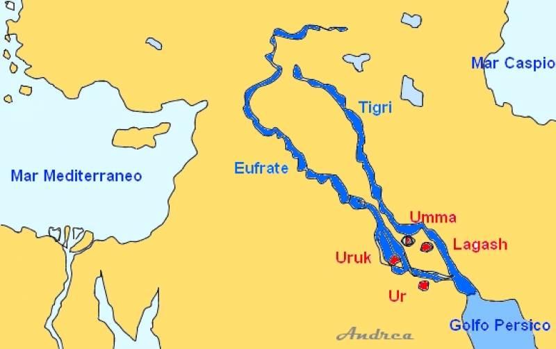 I due fiumi mesopotamici, il Tigri e l'Eufrate