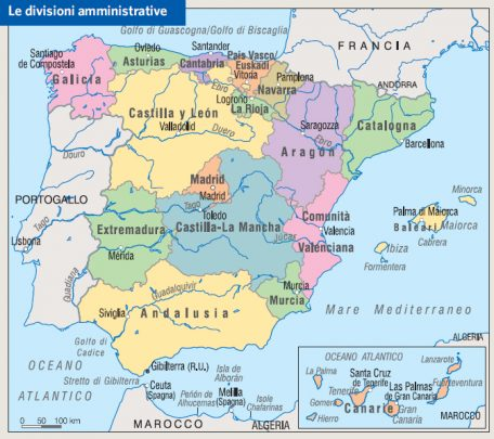 Le divisioni amministrative della Spagna (Fonte: Treccani)