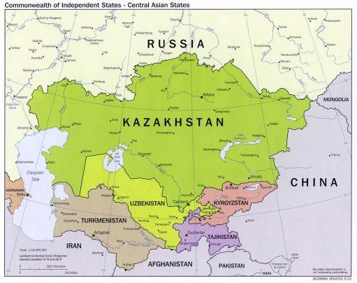 Mappa dell'Asia Centrale