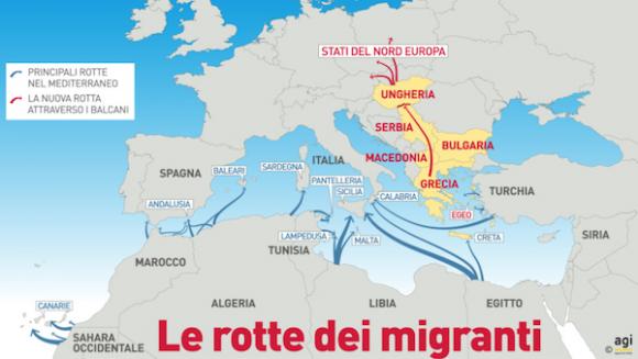 Le rotte dei migranti (Studio AGI)