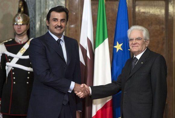 Lo Sceicco del Qatar con il Presidente Mattarella