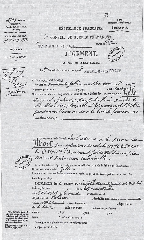 Il documento originale della condanna a morte della Zelle.